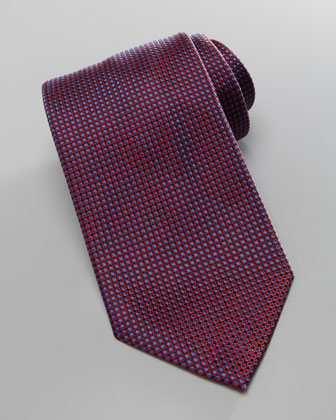Iridescent Textured Silk Tie, Red