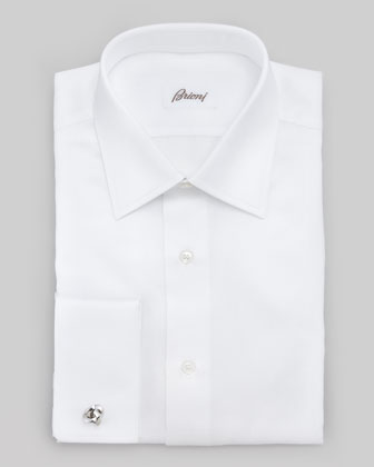Chevron French-Cuff Dress Shirt, White