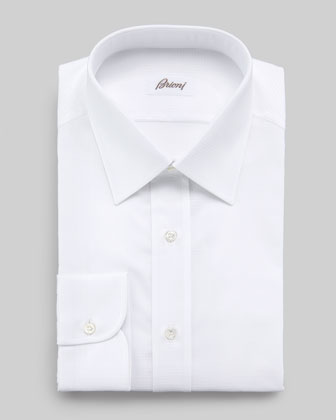 Tonal Textured Dress Shirt, White