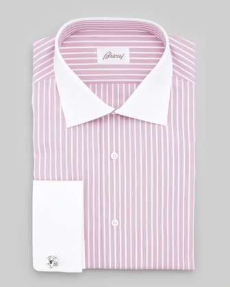 Contrast-Collar Striped Dress Shirt, Berry