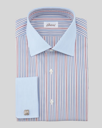 Contrast-Collar/Cuff Striped Dress Shirt, Blue/Burgundy