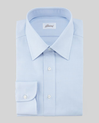 Textured Check Dress Shirt, Light Blue