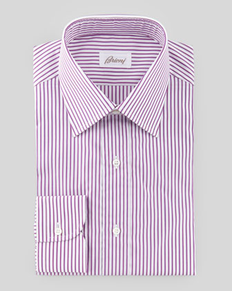3D Striped Dress Shirt, Burgundy/White