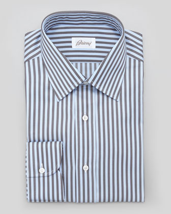 Awning-Stripe Dress Shirt, Blue/Olive