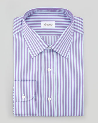 Awning-Stripe Dress Shirt, Lavender