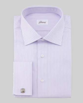 Herringbone-Striped Dress Shirt, Lavender