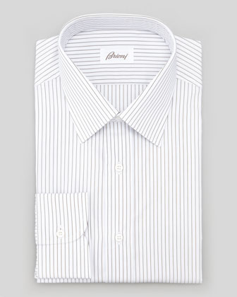 Micro-Striped Dress Shirt, Brown/Light Blue