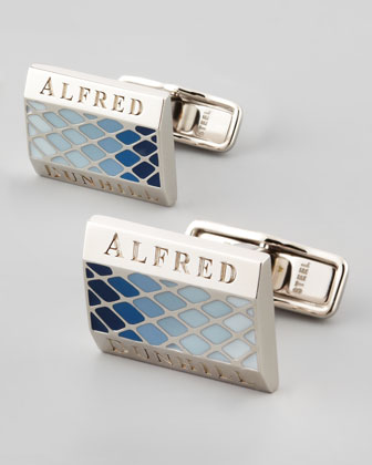 Facet Lacquer Cuff Links, Sky Blue