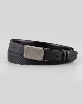 Woven Leather Panel-Buckle Belt