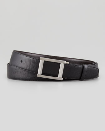 Leather Ribbed-Frame Belt