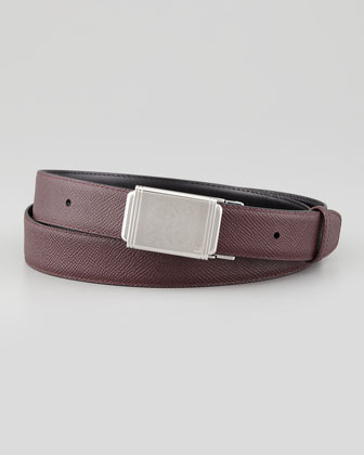 Cogwheel-Buckle Leather Belt