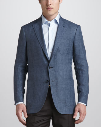 Gingham Check Sport Coat, Blue