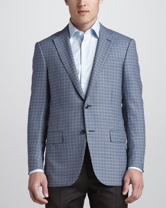 Check Sport Coat, Light Blue