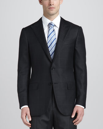 Textured Windowpane Check Blazer, Black