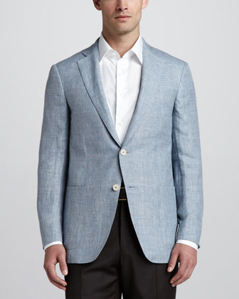 Plaid Two-Button Sport Coat, Light Blue