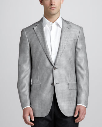 Micro-Check Sport Coat, White/Black