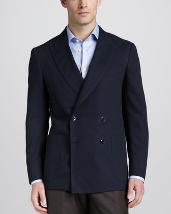Twill Double-Breasted Blazer, Navy