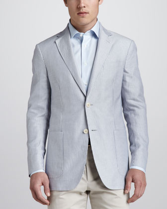 Micro-Striped Sport Coat, Blue/White