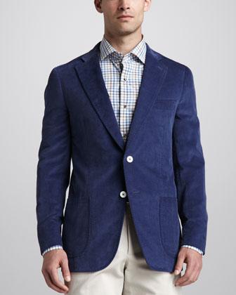 Fine-Wale Corduroy Sport Coat, Blue