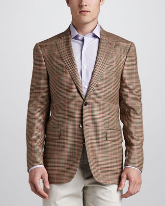 Check Sport Coat, Tan/Coral/Green
