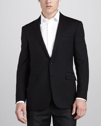 Textured Dobby Blazer, Black