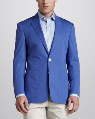 Two-Button Twill Blazer, Blue