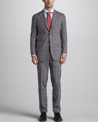Plaid Three-Button Suit, Gray/Red
