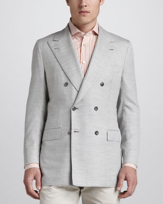 Basketweave Double-Breasted Blazer, Light Gray