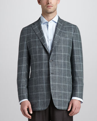 Heather Windowpane Check Blazer, Dark Green