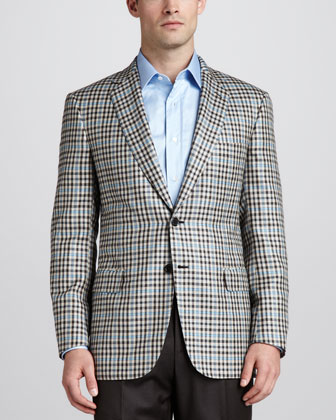 Two-Button Check Sport Coat, Tan/Brown