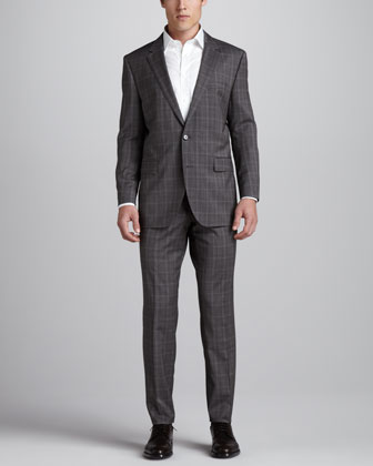 Glen Plaid Suit, Brown