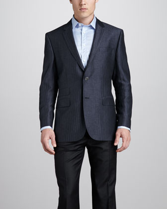 Herringbone Sport Coat, Blue