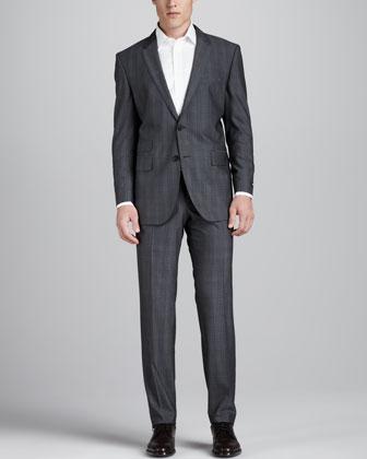 Tonal Plaid Suit, Gray