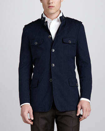 Twill Field Jacket, Blue