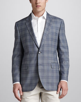 Houndstooth Plaid Sport Coat, Blue