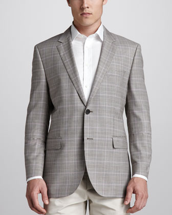 Houndstooth Plaid Sport Coat, Brown/Lilac