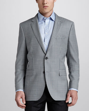 Micro-Check Sport Coat, Blue/Green
