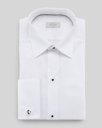 Classic-Fit Tonal Striped Dress Shirt, White