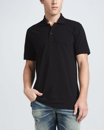 Short-Sleeve Logo Polo, Black