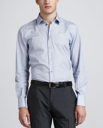 Martini Square-Dot-Print Shirt, Light Blue