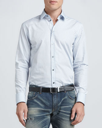 Martini Micro-Dot Stripe Shirt, Blue/Navy