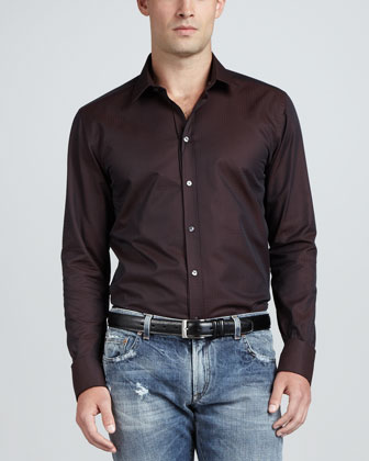 Patterned Sport Shirt, Wine