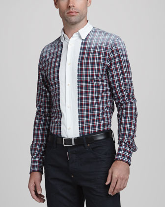 Plaid Shirt with Faded Shoulders, Red Patter