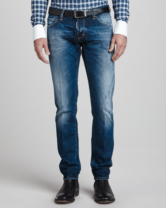 Slim Distressed Dirty Jeans, Blue