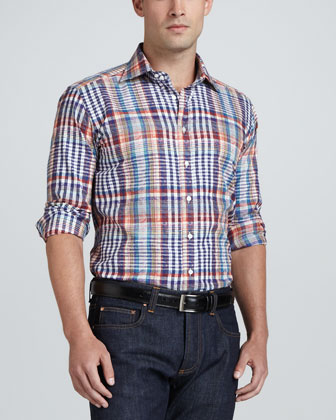 Multi-Plaid Sport Shirt with Paisley Overlay