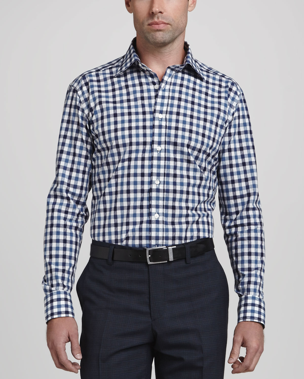 Mens Gingham Paisley Long Sleeve Shirt, Navy Blue   Etro   Blue pattern (44)