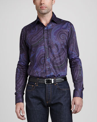 Printed Long-Sleeve Shirt, Purple Paisley