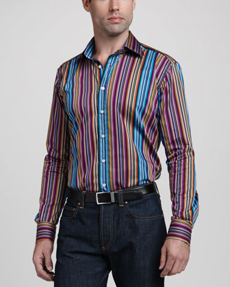 Multi-Stripe Long-Sleeve Shirt