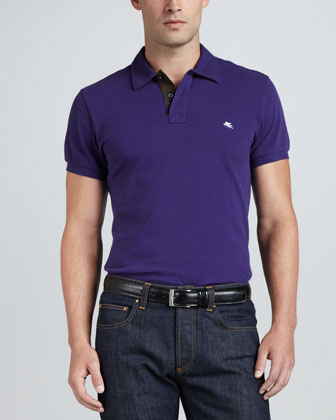 Polo with Paisley-Print Placket Facing, Purple