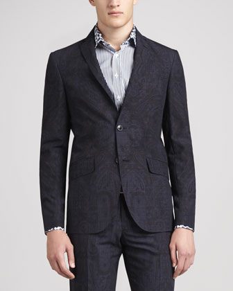 Paisley Plaid Suit Coat, Navy